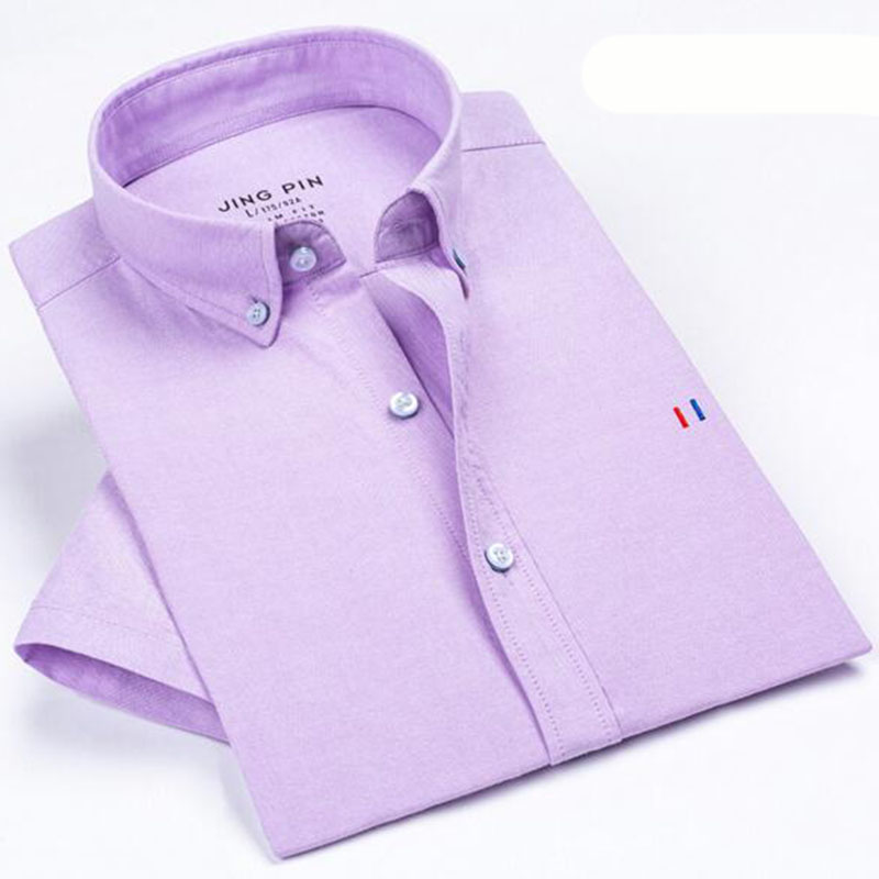 Summer Fashion Men Students Casual Single Breasted Shirts Camisa Solid Candy Color Breathable Short Sleeve Oxford Shirts in Casual Shirts from Men 39 s Clothing