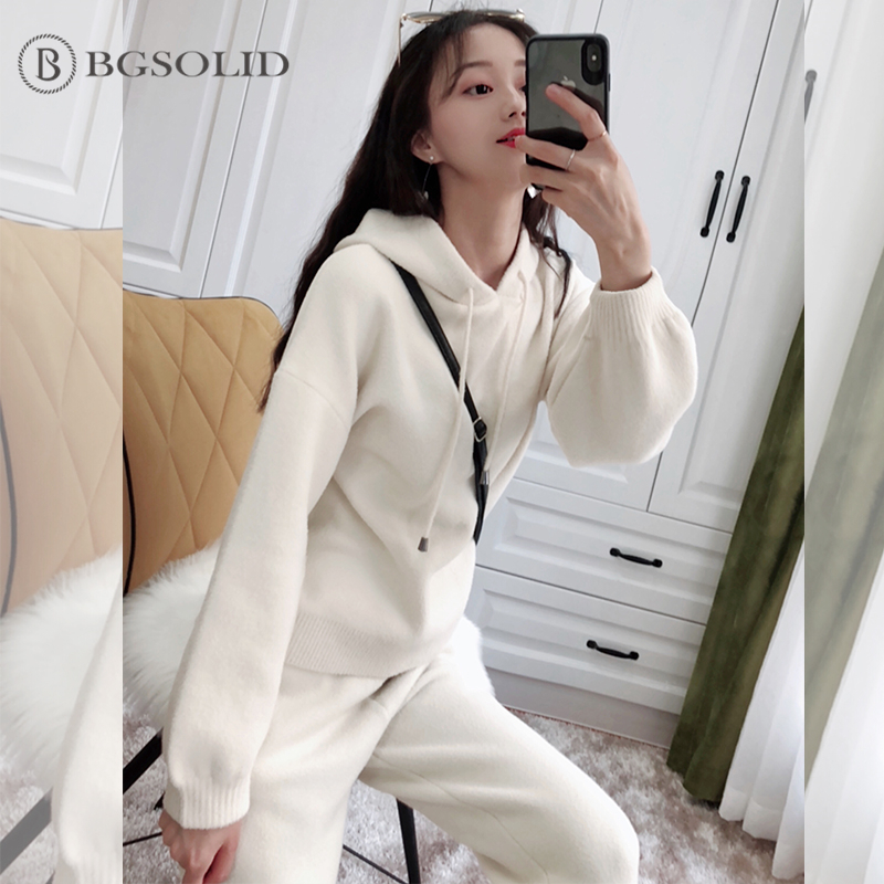 Double-sided cashmere women 2018 Korean version fashion knitted two-pieces of temperament cashmere broad legged trousers suit