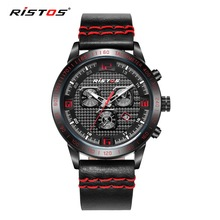 RISTOS Brand Sports Calendar 3Bar waterproof Men Watches Luxury Famous Fashion Mens Quartz Wrist watch Men's Top  Reloj Hodinky