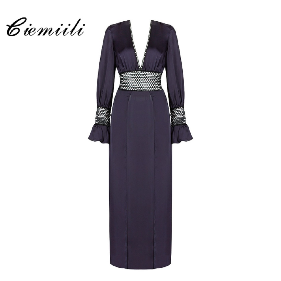 CIEMIILI 2017 Sexy Deep V-Neck Women Dress Fashion Lantern Sleeve Long Gown Party Splited Maxi Cocktail Vestido Vintage Dress sexy knitted long sleeve deep v neck pack hips women dress fashion solid mini sheath summer dresses new 2017 casual vestido s xl