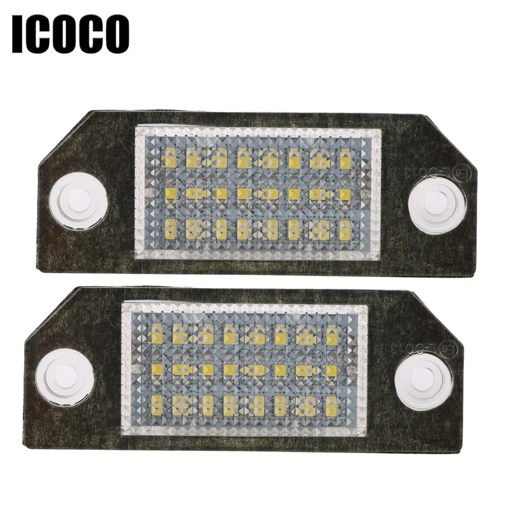 ICOCO 2pcs Car LED License Number Plate Light Lamp 6W 12V 24 LED White Light for Ford Focus 2 C-Max  MK2 drop shipping