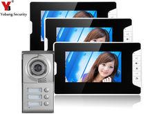 Yobang Security Free ship villa door intercom 7 inch colorful digital screen 3 monitors Multi Apartment building Video intercom