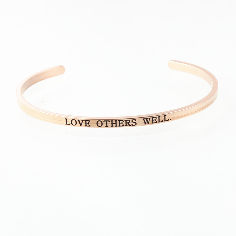 LOVE OTHERS WELL Stainless Steel Positive Inspirational Quote Cuff Mantra Bracelet Personalise Bangle for Women Dropshipping!