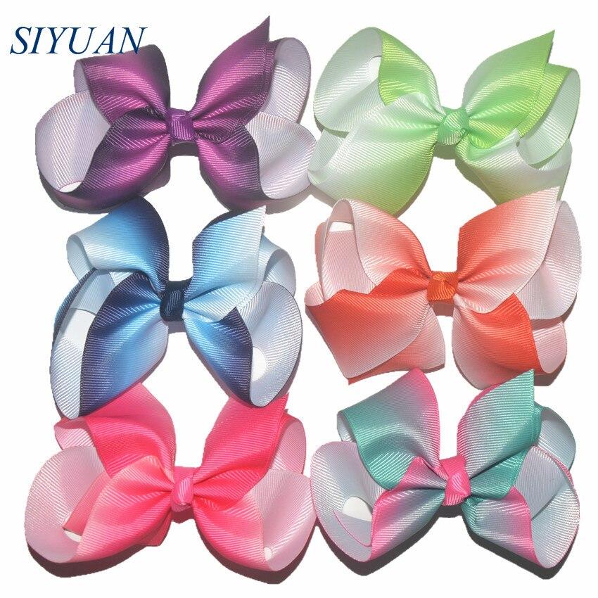 120pcs lot Princess Lovely Headwear Grosgrain Ribbon Siwa Pinwheel Bow Tie Clip Rainbow Color Printed Kids