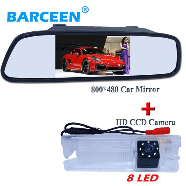 """Retrovisor do carro da câmera com 8 luzes led + venda quente 4.3 """"espelho de estacionamento para Nissan March Renault Logan para Renault Sandero"""