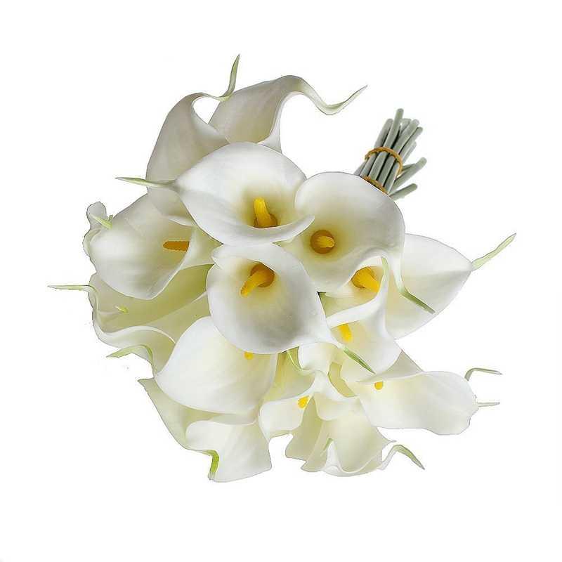 Cala lirio ramo de novia 10 cabeza látex de tacto real KC51 blanco