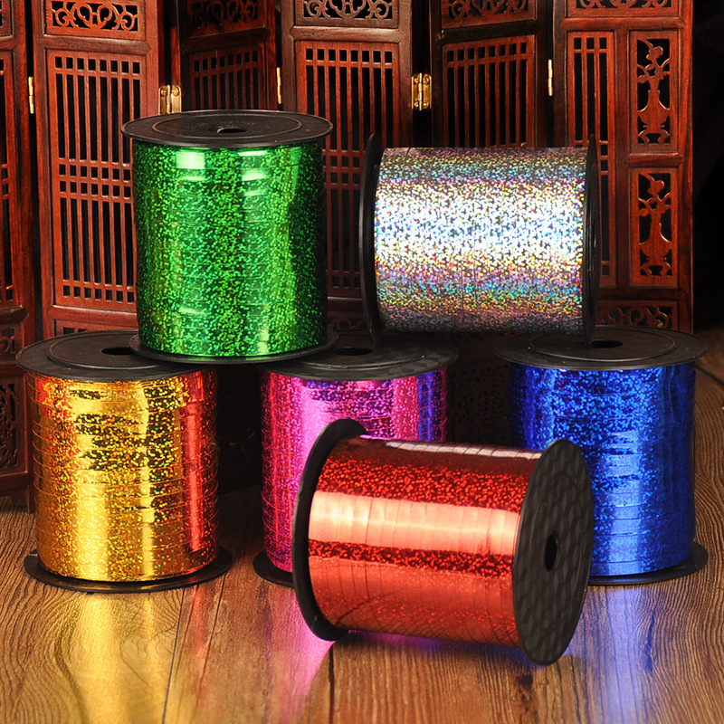 Balloons Ribbons 5mm 250 Yards Laser For Christmas Wedding Party Decoration Gift Wrap Handmade DIY Accessories E
