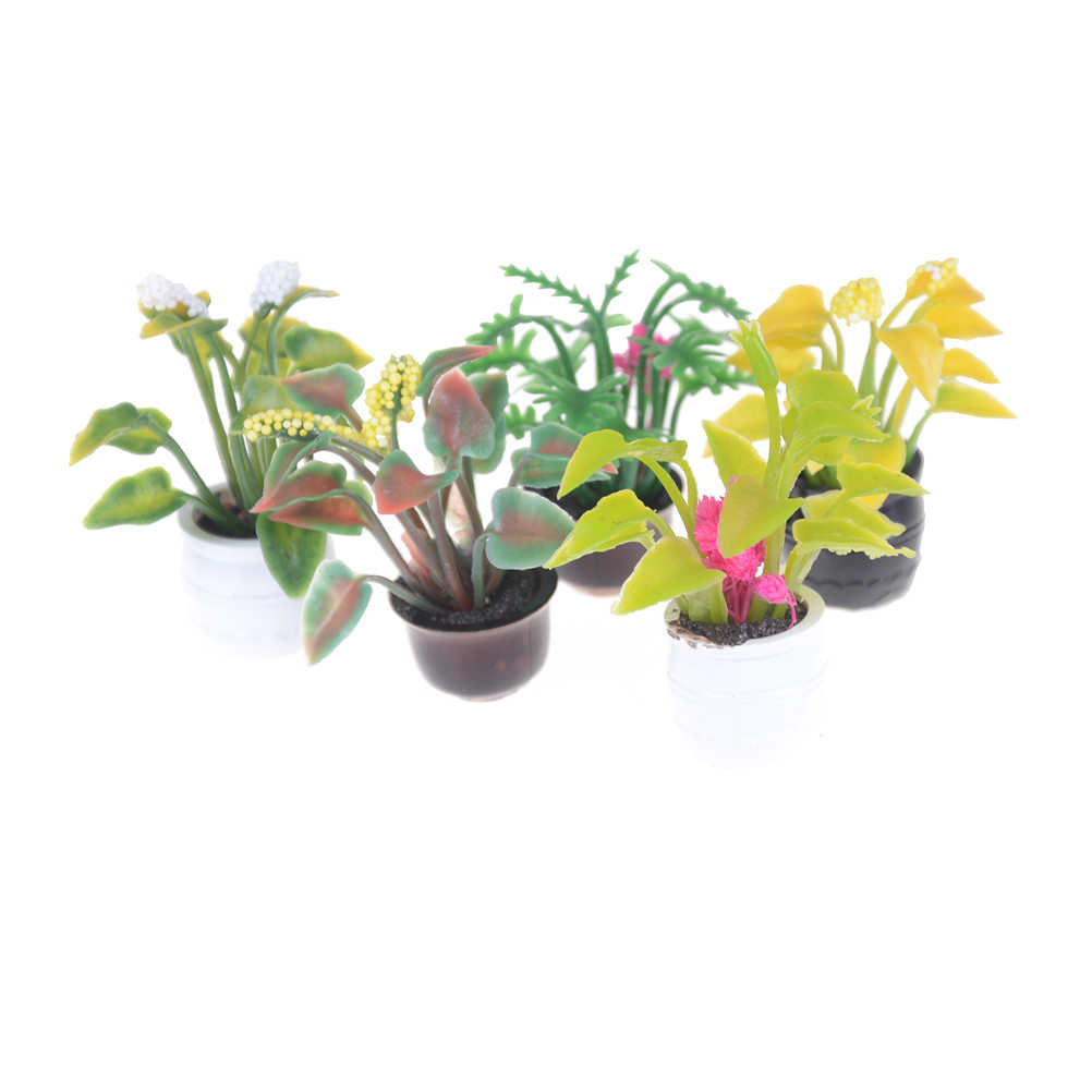 1:12 Scale Potted Plant Flowers Pot Furniture Craft Dollhouse Miniature Fairy Garden Ornament Doll House Decor