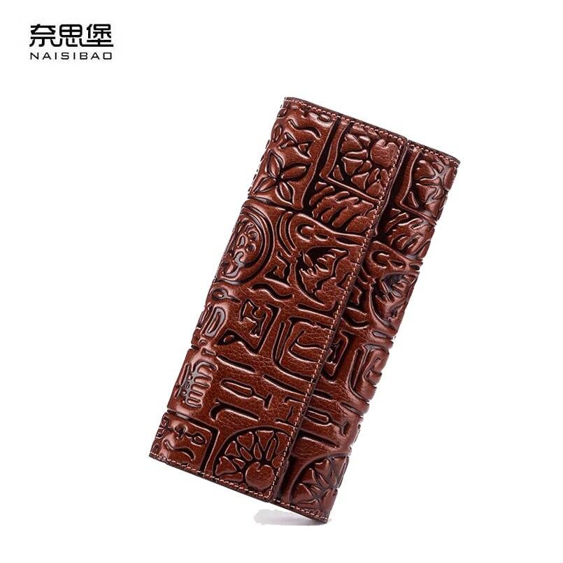 2018 New women genuine leather wallets designer brands fashion tassel embossing Retro long womens wallets leather clutch bags retro tiny bell tassel anklet for women