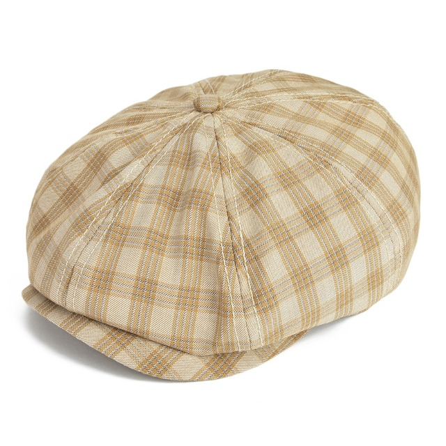 b8224120d30 VOBOOM Khaki Flat Cap Men Large Plaid Newsboy Caps Cotton Cabbie Hat Summer  Breathable Glof Hats 103