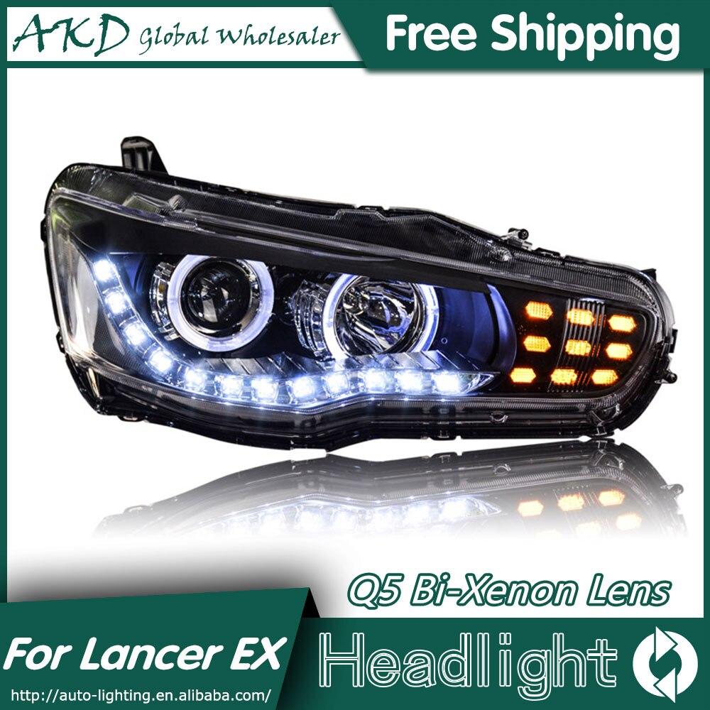 Akd car styling for mitsubishi lancer headlights 2009 2014 lancer ex led headlight led drl