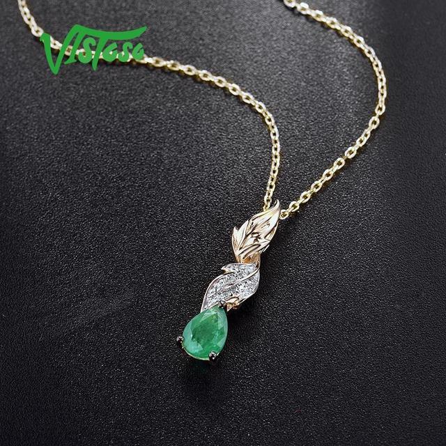 VISTOSO Gold Pendants For Women Authentic 14K 585 Yellow Gold Magic Emerald Sparkling Diamond Chic Necklace Pendant Fine Jewelry 5