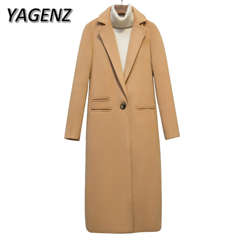 YAGENZ 2019 kobiety wełniane kurtki zima nowa moda szczupła Temperament długie płaszcze jednolity na co dzień ciepły płaszcz damski czarny wielbłąd w Wełna i mieszanki od Odzież damska na  Grupa 1