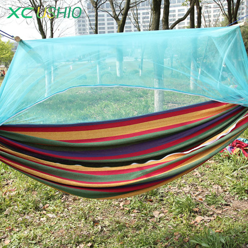 ФОТО One person outdoor camping Hammock for sleeping rest with mosquito net protection 300 kg max loading Hot sale