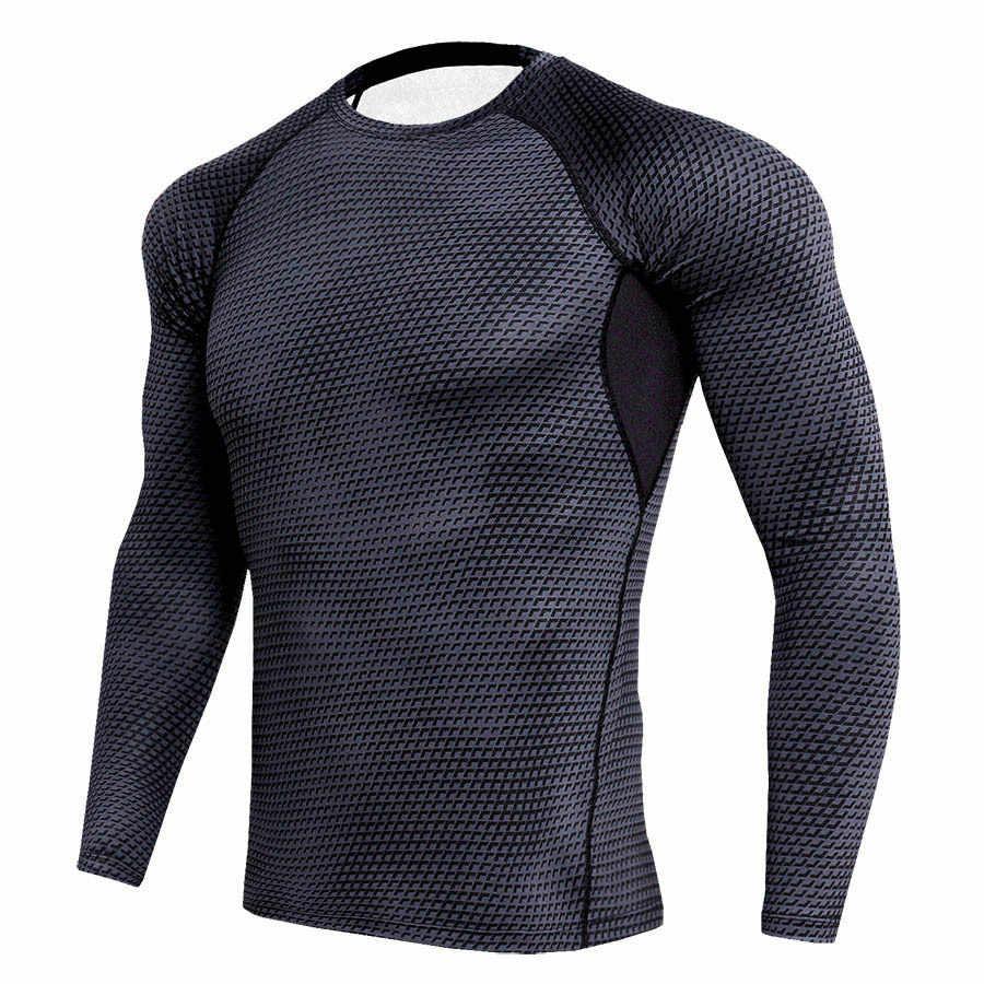 3D серпантин печатные футболки обтягивающая мужская кофта термальная футболка с длинным рукавом для мужчин s Фитнес Бодибилдинг Кожа плотно быстросохнущая