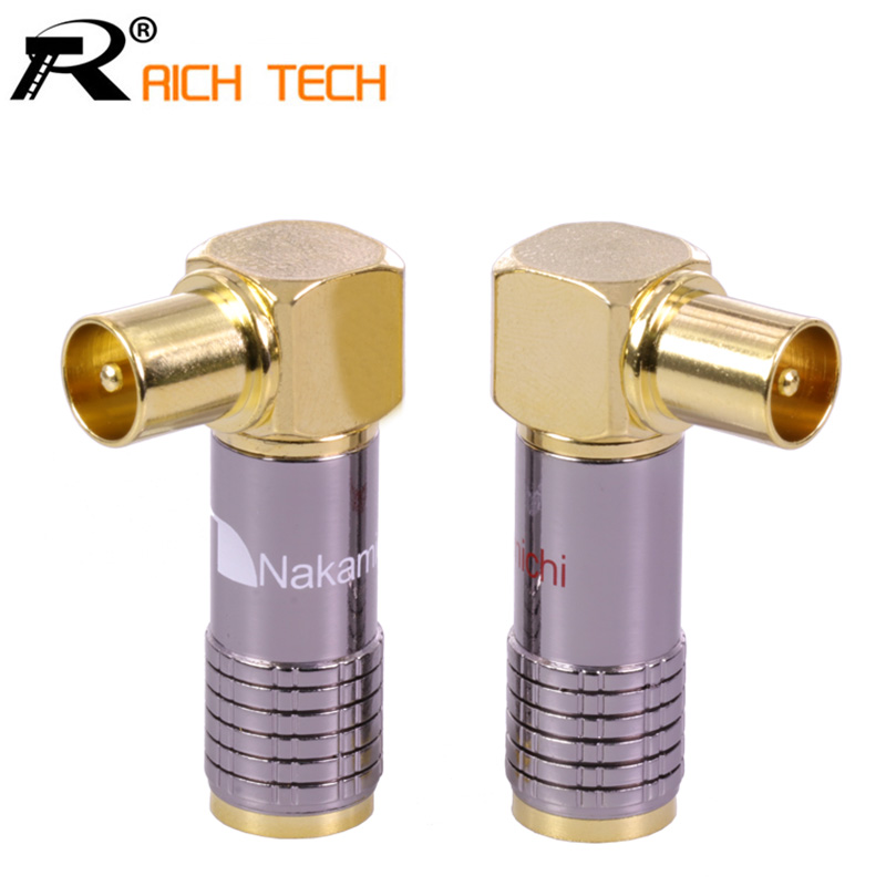 1pair/2pcs High quality Wire connector DVB-T TV PAL Male plug Right Angle cable Adapter welding 90degree elbow TV plug high quality 1 pair right