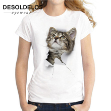 2019 New 3D cat Print Casual Harajuku Women T-Shirt Summer Short sleeve Casual Round neck Cheap Clothes China Top Mode Femme mode femme charmed 3d cat print casual harajuku women t shirt summer short sleeve casual round neck cheap clothes china top