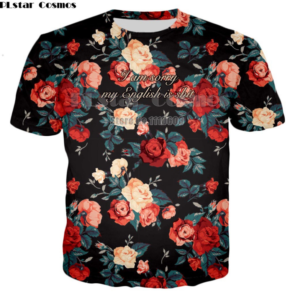 Fashion Casual short  Sleeve Printed Floral Flower T Shirt men Women Top Tees Summer Autumn T-Shirt Femme unisex T shirt Clothes