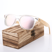 BARCUR Wood Transparent Sun glasses Bamboo Polarized Sunglasses Women Pink Eyewear Men Oculos de sol