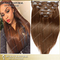 Ventas calientes 8A brasileño clip en extensiones de cabello 7 unids/8 unids de seda clip recto en extensiones del pelo #4 medium brown 10-26 pulgadas de largo pelo