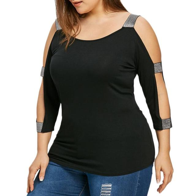 2b82b004645fed Plus Size 5xl Womens Tops and Blouses Cold Shoulder Tops O Neck 3 4 Sleeve