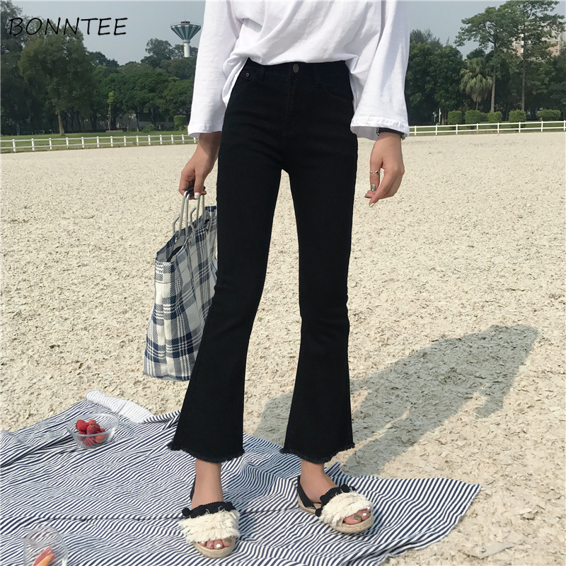 Jeans   Women Slim Elastic Ripped Retro Womens Flare   Jean   Ankle-length Korean Style All-match Simple Trendy Zipper Fly Daily Chic