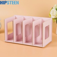 Creative Wooden DIY Desktop Book CD Storage Rack Holder Sorting Bookends Office Carrying Shelves Home Supplies