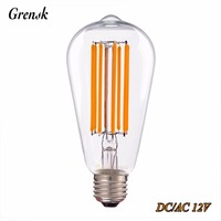 LED Vintage Long Filament Bulb ST64 Edison Style 6W Super Warm 2200K 12V DC AC E26