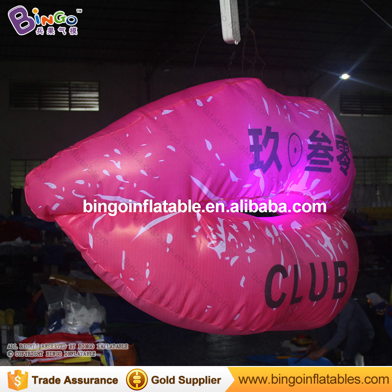 Free Shipping Valentine's Day printing sexy lips inflatables lighting toy