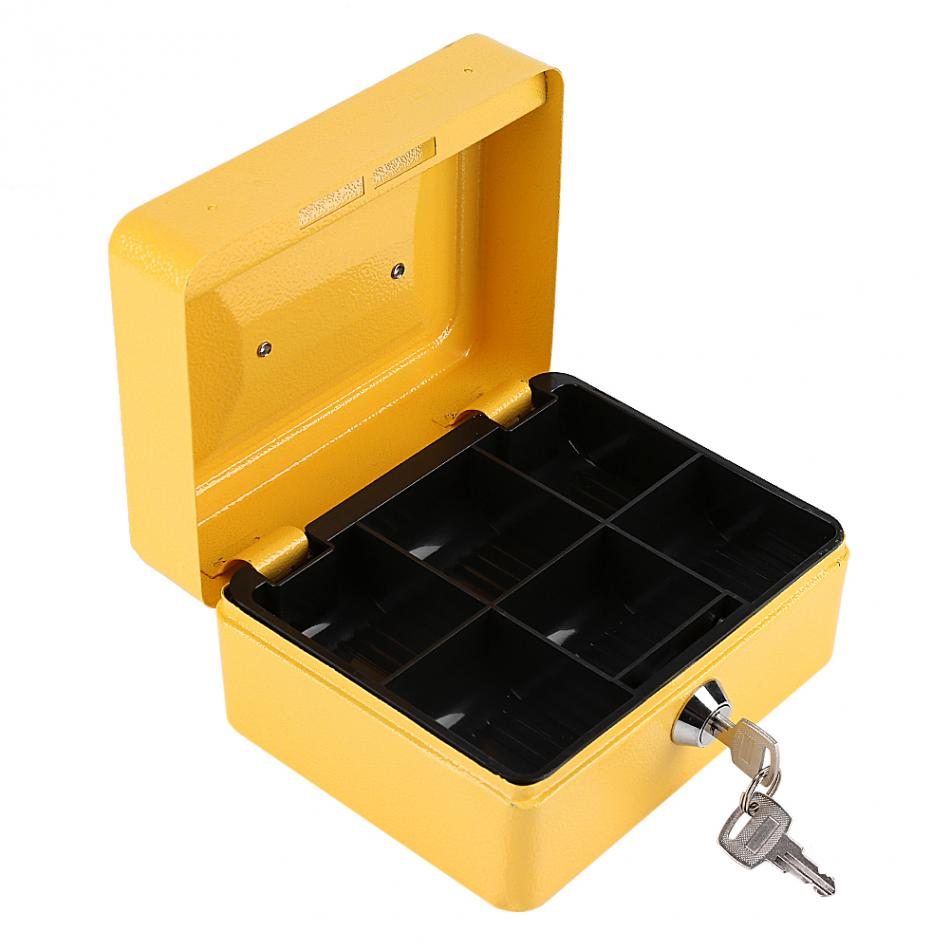 1Pc Mini Portable Steel Petty Lockable Cash Money Coin Safe Security Box Household Tool Storage Box