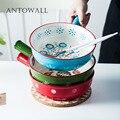 ANTOWALL 8 дюймов ручка risotto рисовая миска с ручкой керамическая миска для выпечки ручная роспись фруктовый салат мгновенная миска для супа