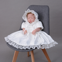 Christening Dress 1 Year Old Girl Birthday Dress Newborn Baby Baptism Gown with Bonnet Bow Satin Dress Lace Trim Frocks A015