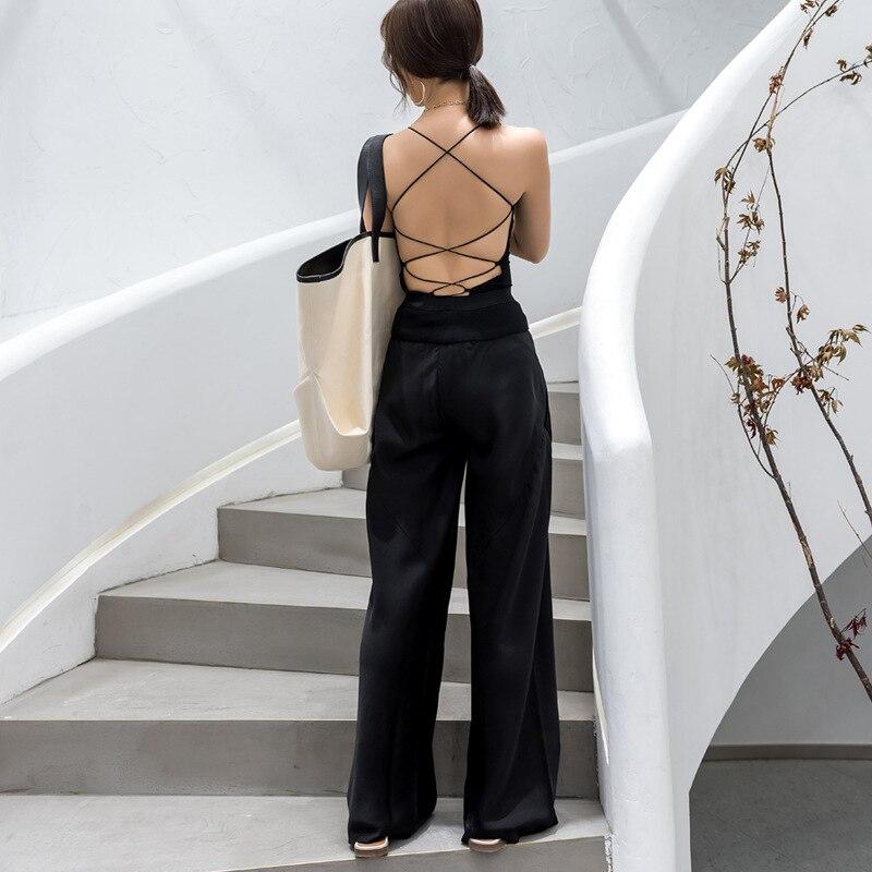 Haute Noir Casual Automne Mode Taille Vêtements Femelle De Black Pants Jambe Femmes Patchwork Large Maxi Twotwinstyle Élastique Pantalon Poche w60Z8FO