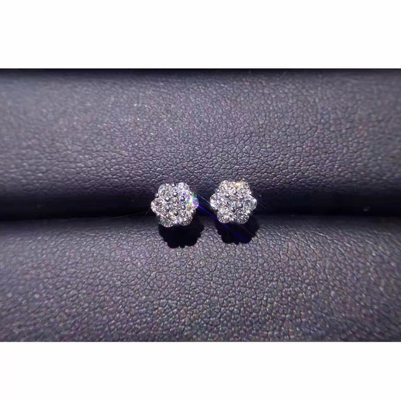 ANI 18K White Gold Women Wedding Stud Earrings 0.36 CT Certified I/SI Natural Diamond Jewelry Lady Engagement boucle d oreille