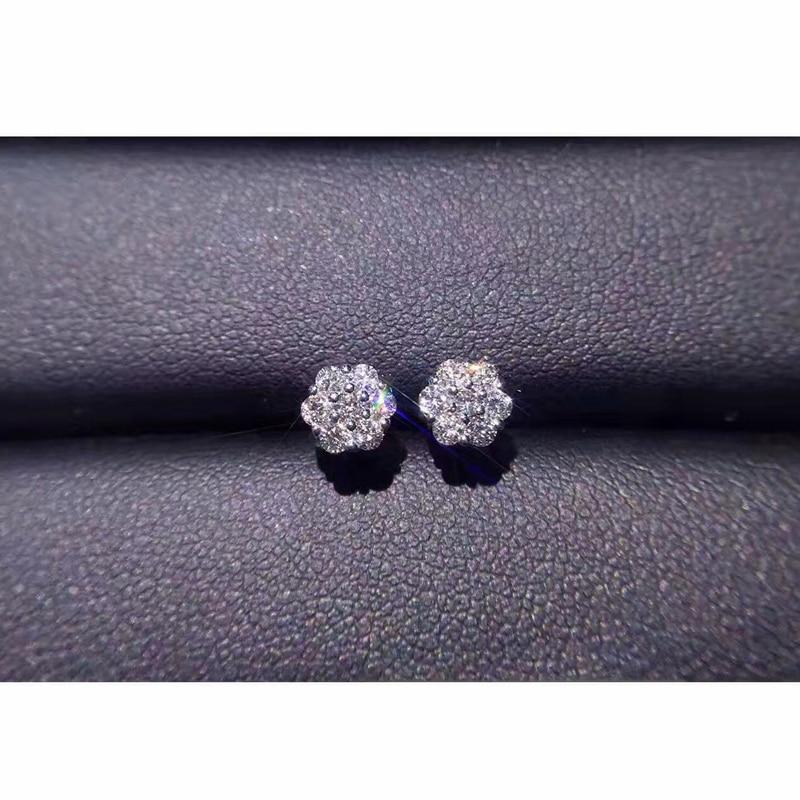 купить ANI 18K White Gold Women Wedding Stud Earrings 0.36 CT Certified I/SI Natural Diamond Jewelry Lady Engagement boucle d oreille недорого