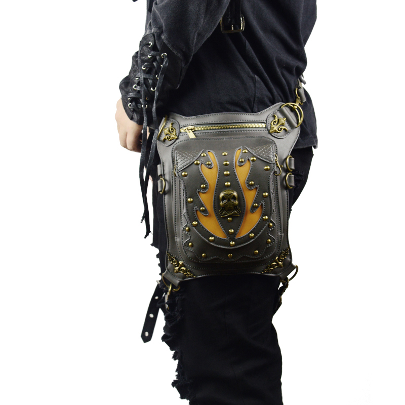 Steampunk Men Women Unisex Waist Bags Vintage Messenger Bag Fashion Black Leather Shoulder Bags Travel Punk Waist Packs