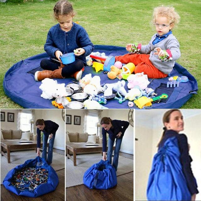 New Portable Kids Toy Storage Bag and Play Mat Lego Toys Organizer Drawstring Pouch Practical