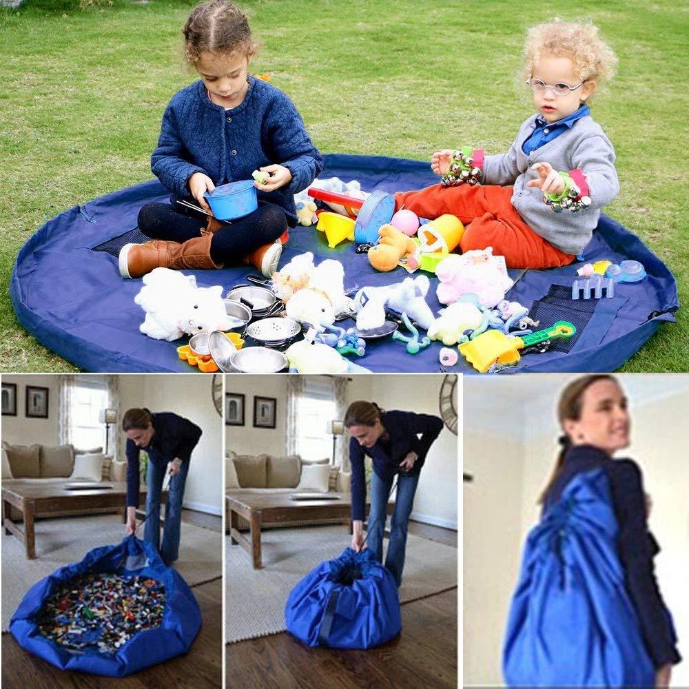 Nueva Bolsa portátil de almacenamiento de juguetes para niños y Estera de juego juguetes Lego organizador bolsa de cordón bolsas de almacenamiento prácticas de moda