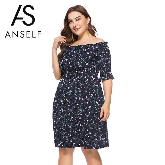 Women Plus Size Dress Slash Neck Off The Shoulder Big Size Dress