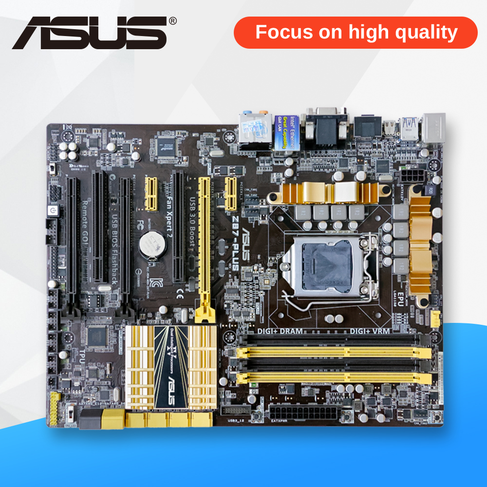 Asus Z87-PLUS Desktop Motherboard Z87 Socket LGA 1150 i5 i7 E3 DDR3 32G SATA3 USB3.0 ATX On Sale asus p5ql cm desktop motherboard g43 socket lga 775 q8200 q8300 ddr2 8g u atx uefi bios original used mainboard on sale