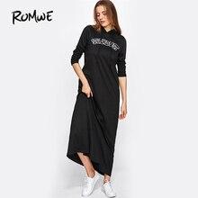 ROMWE Embroidered Patch Detail Maxi Hoodie Dress Black Pockets Appliques Sweatshirt Dress 2017 Long Sleeve A Line Dress