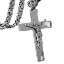 Granny Chic 6mm Chunky Byzantine Chain Cross Pendant for Men Necklace in Stainless Steel Male Punk Rock Hip-hop Jewelry