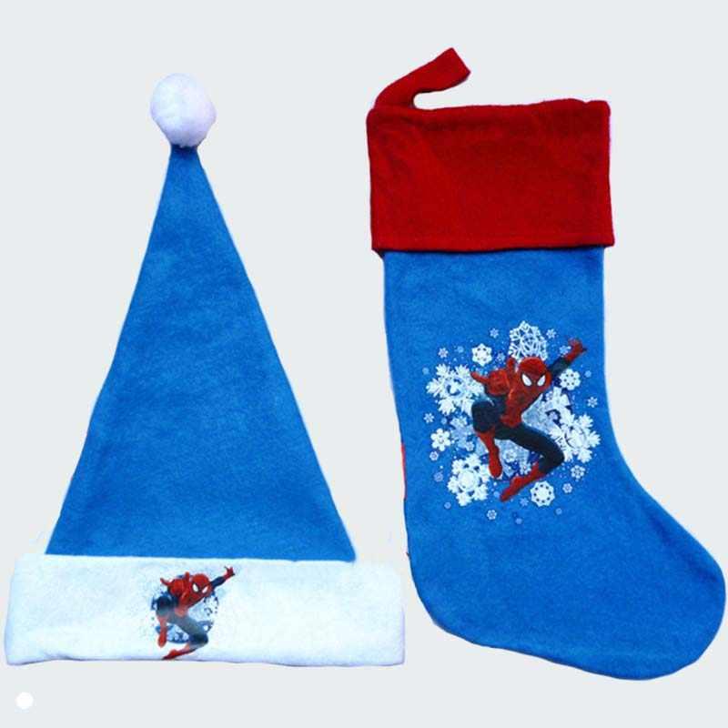 Малыш взрослых с Рождеством Мультяшные плюшевые Атлас шляпы + stdocking человек-паук детская Рождественская шапка подарочные пакеты Санта Клаус Hat