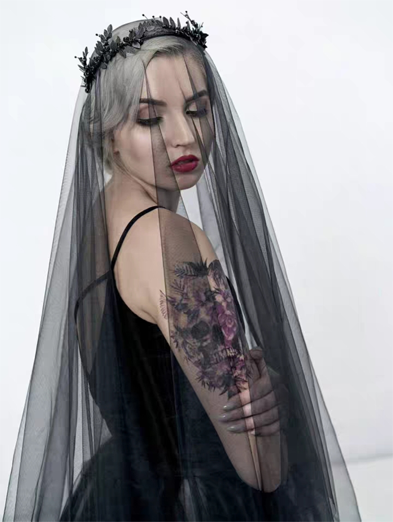 Купить с кэшбэком 5 10 15 20 30 Meters Wedding Picture Bridal Extra Long 5 10 15 20 30M Gothic Black Soft Mesh Tulle Veil Bride Veils Without Comb