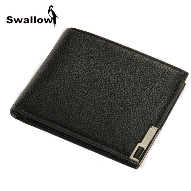 SWALLOW Casual Style Men's Short Wallet Leather With Photo Holder Fashion Business Male Purse