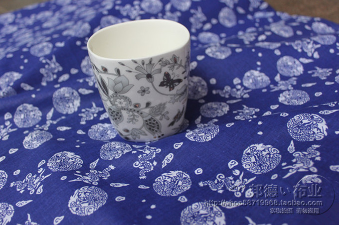 2019 Tissus Au Metre Silk Fabric Tecidos Free Shipping Blue Calico Imitation Wax Printing Sheet Cloth Teahouse Sofa Fabrics