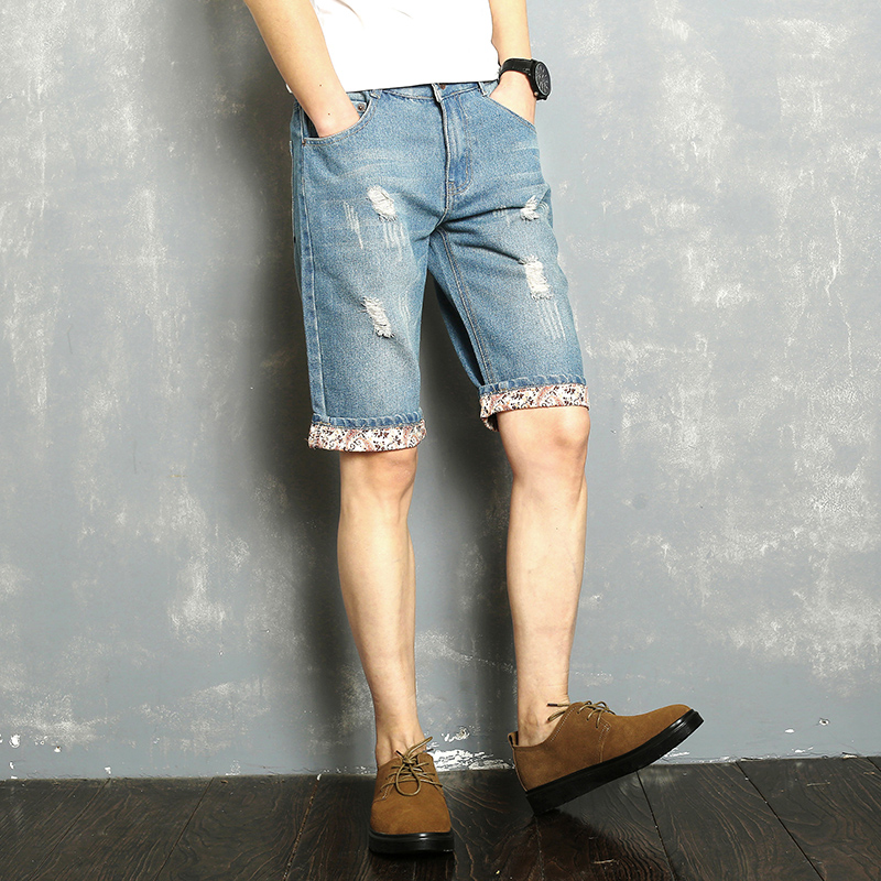 2018 summer shorts men new Flip ripped jean shorts men size