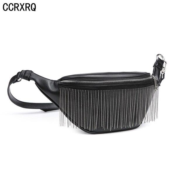 CCRXRQ New Tassels Leather Waist Bags Bananka Handy Black Ladies Belt Bags Fashion Fanny Pack Female Crossbody Chest Bag Girl