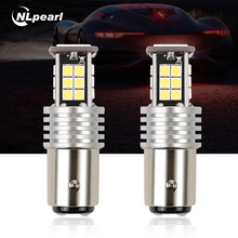 NLpearl 2x 6W Signal Lamp 1157 BAY15D Led P21/5W LED Bulbs 24 3030 SMD For Auto Brake Lights Stop Tail Lamp Red Amber White 12V pair red 158 smd 1157 2357 7528 led bulbs for turn signal lights tail lights brake stop lights for ford peugeot srt infiniti
