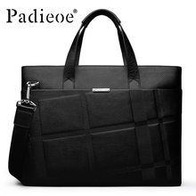 Padieoe 2016 New Arrival Classic Mens Briefcase Fashion Genuine Leather Laptop Bag Male Luxury Brand Men's Business Bag office